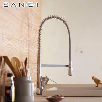 三栄水栓[SANEI] sutto キッチン用 混合栓/ワンホールシングルレバー式(シングルワンホールスプレー混合栓)K8731JV-13