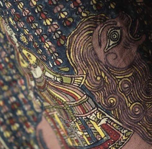 インド カラムカリ 壁掛け タペストリー【プレゼント】【アジアン】【インド綿】【エスニック】【ナチュラル インテリア】【コットン(綿)】+A+H