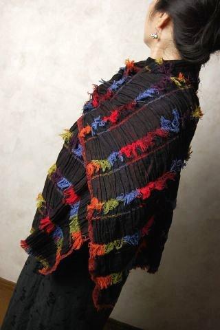 インド フリンジライクラウールストール (スカーフ、ショール) 【レディース ファッション】【アジアン】【プレゼント】【ポンチョ】【YDKG-f】【エスニック】【送料無料!】