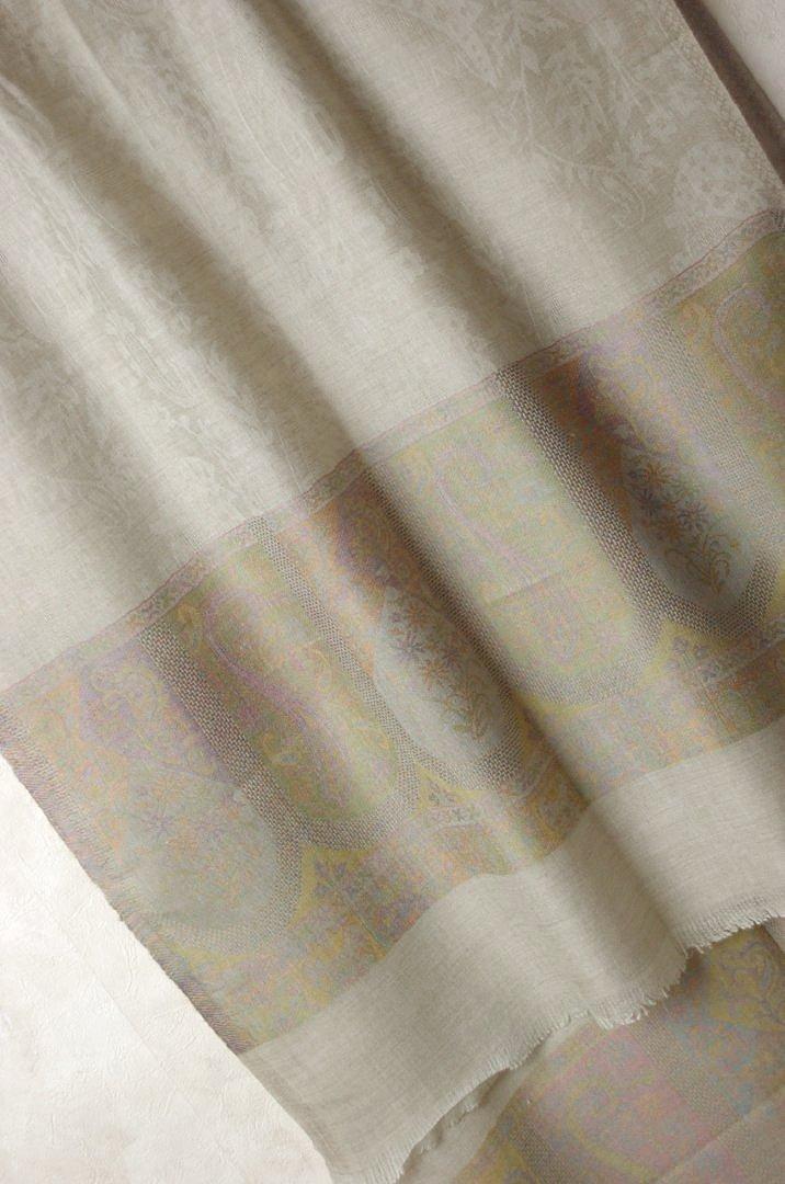 インド パシュミナ 大判ストール 生成り ジャカード織り 【送料無料!】【レディース】【アジアン】【プレゼント】【ポンチョ】【YDKG-f】【エスニック】+A+H