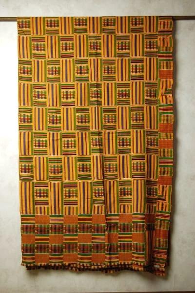 アフリカ ガーナの民族衣装布(ケンテ) イエロー系 セミダブルサイズ 【アジアン】【プレゼント】【YDKG-f】【エスニック】【マルチカバー】【コットン】【インテリア】+A