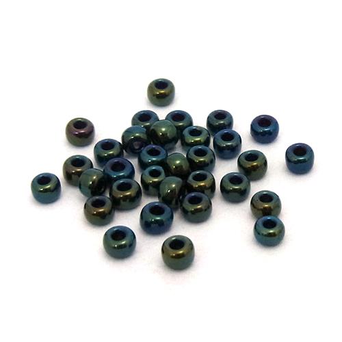 1.9mmの丸小ビーズ 1.9mm 広島 丸小ビーズ メタリック メタルミックス 10g入 受注生産品 返品不可 ブルー #204グリーン