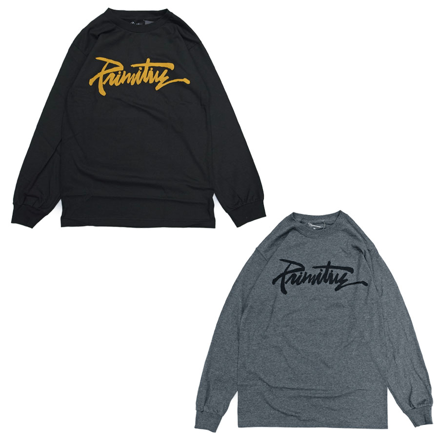 アメリカで人気上昇中のブランドが発売したTシャツ PRIMITIVE プリミティブ THRASHED L メーカー再生品 S TEE セール特価品 3色 長袖Tシャツ ロングスリーブ レディーズ ストリート カットソー ブラック スケート 黒 ネコポス ユニセックス メンズ