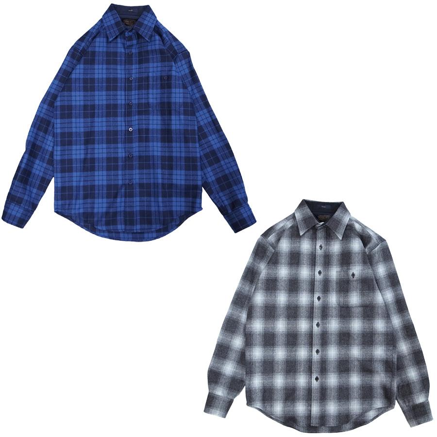 PENDLETON ペンドルトン FLANNEL L/S WOOL SHIRT [2色](ウール 長袖シャツ チェック柄 9.7oz フランネル メンズ 青 ブルー 黒 ブラック グレー ) 【送料無料】