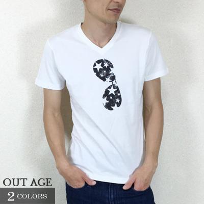 ランダムスターサングラスVネックTシャツ【OUT AGE】