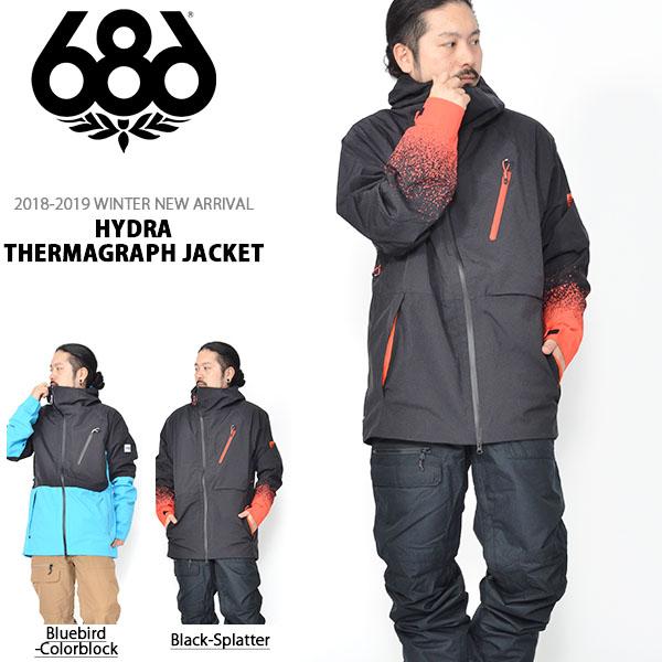 送料無料 スノーボードウェア 686 SIX EIGHT SIX シックスエイトシックス Hydra Thermagraph JACKET メンズ ジャケット スノボ スノーボード スノーウェア 18/19 得割10