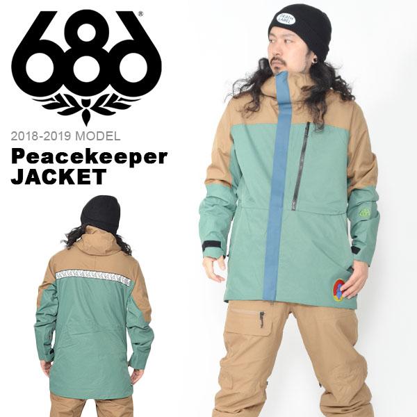 送料無料 スノーボードウェア 686 SIX EIGHT SIX シックスエイトシックス Peacekeeper JACKET メンズ ジャケット スノボ スノーボード スノーウェア 18/19 得割20