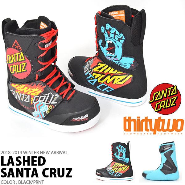 送料無料 ThirtyTwo 32 サーティー トゥー スノーボード ブーツ LASHED SANTA CRUZ メンズ サンタクルーズ コラボ スノボ BOOTS 低温 サーモインナー サーティーツー 成型 18/19 得割30