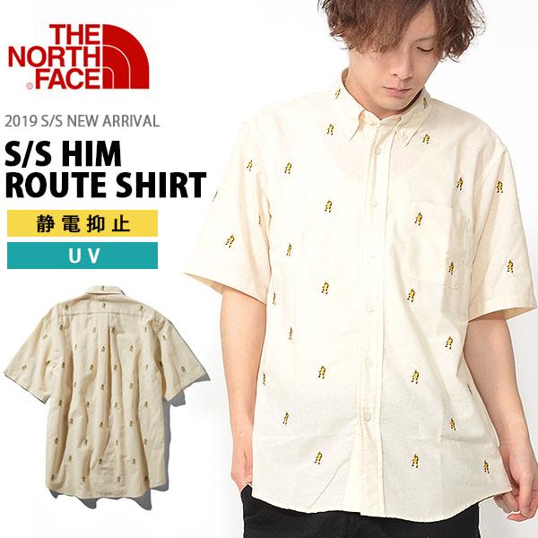 送料無料 ヒマラヤン柄 UV 半袖 シャツ ザ・ノースフェイス THE NORTH FACE メンズ S/S Him Route Shirt ショートスリーブ ヒム ルート シャツ nr21956