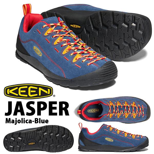 送料無料 スニーカー KEEN キーン メンズ JASPER ジャスパー 替え紐つき クライミング アウトドア ハイキング フェス シューズ 靴 2020春夏新作 Majolica Blue 1022643 ブルー