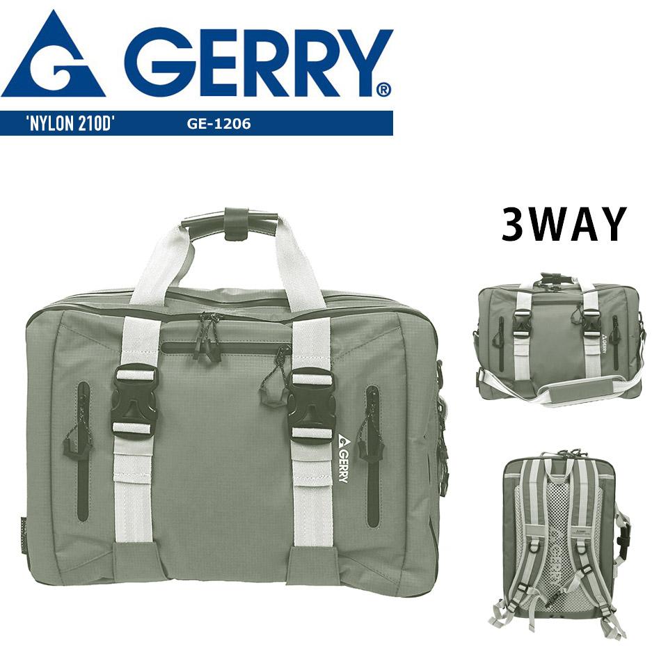 送料無料 GERRY ジェリー 3WAY ビジネス ショルダーバック バッグ 男女兼用  メンズ レディース グレー GE1206