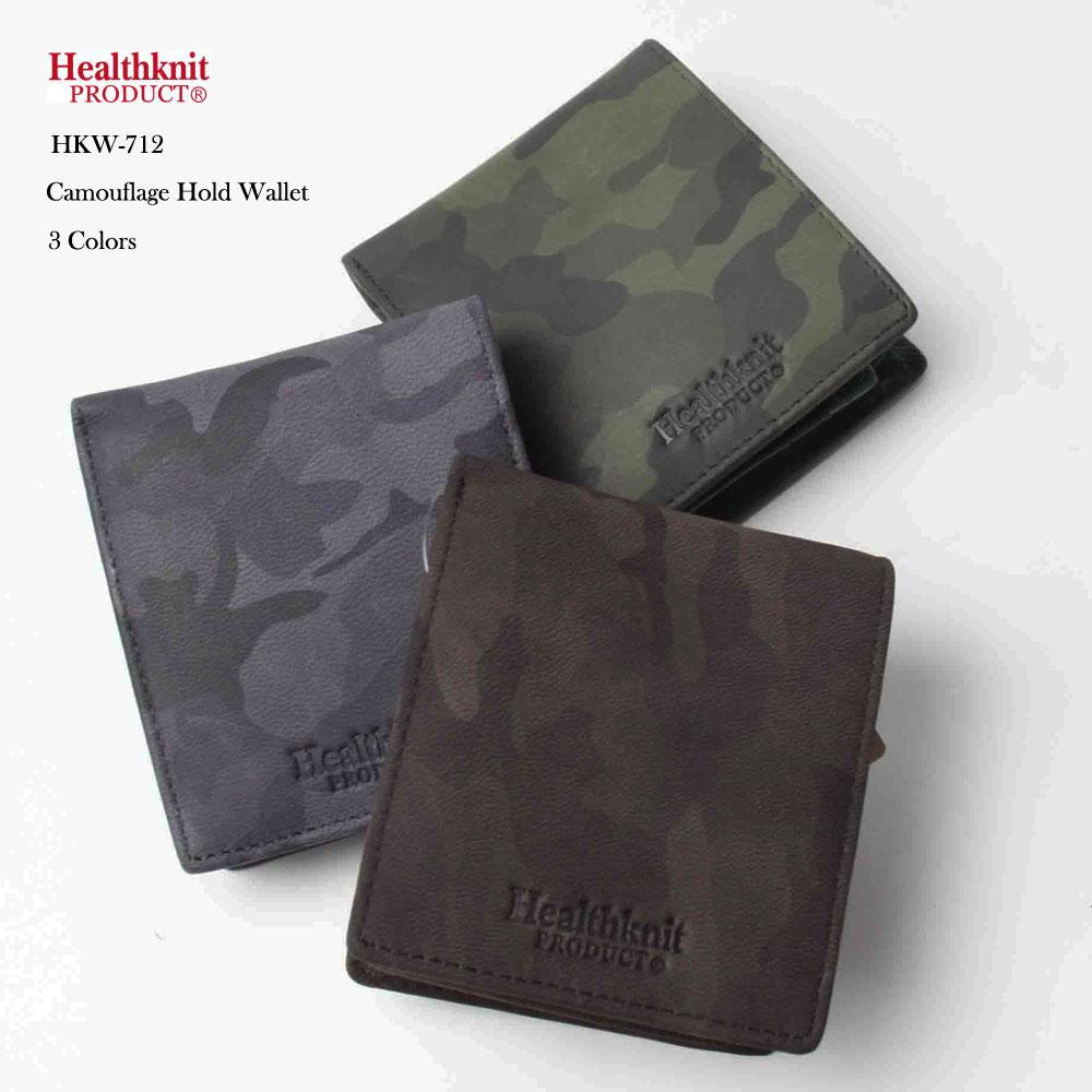 HealthKnit ヘルスニット レザー カモフラージュ 2つ折り財布 カモ柄 小さめ 薄い サイフ 財布 メンズ ブランド カジュアル アメカジ コンパクト
