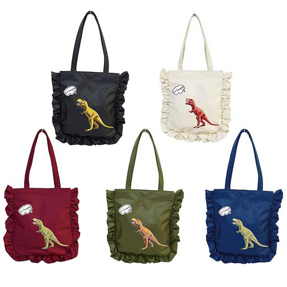 1b97327c70a1 トートバッグレディース大きめa4恐竜MISFITSフリル鞄かばんレディースファスナー付き可愛いかわいいおしゃれ