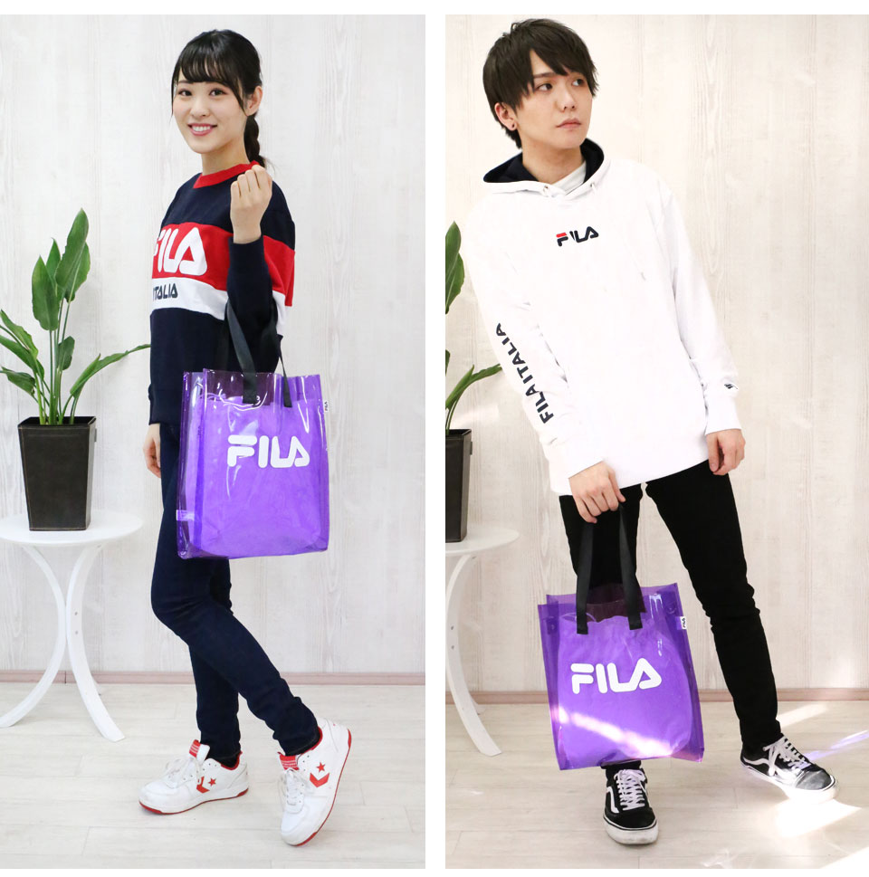 FILA Fila PVC トートバッグレデイースメンズクリアバッグショルダーバッグ 2way transparence bag clear transparence skeleton bag pvc beach bag pool bag large capacity stylish brand