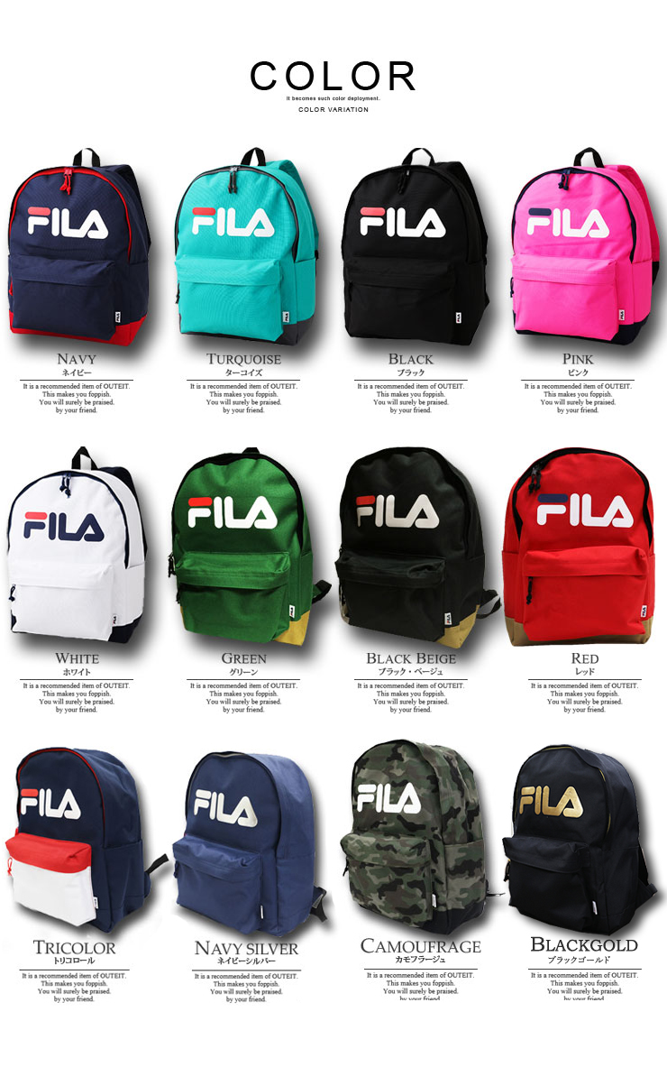 FILA Fila Luc fashionable backpack large 8-color backpack Womens mens  unisex student school adult outdoor sports casual FM2006 02P03Sep16
