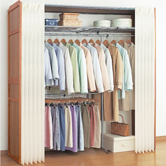 Closet Width 200 Cm 2 Stage Telescopic Storage Hanger Rack Double Curtain With Wooden Covered Wardrobe Clothing Shelving Shelf Hangers