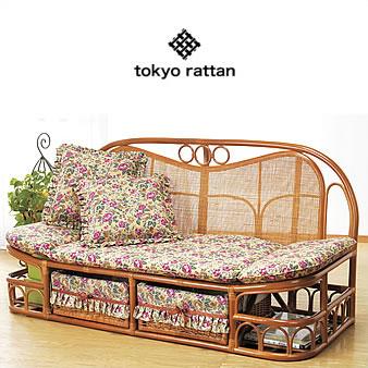 【YHC】tokyo rattan ラタン 籐 ソファ ハイバック カウチソファ 幅140cm クッション付き 収納付き