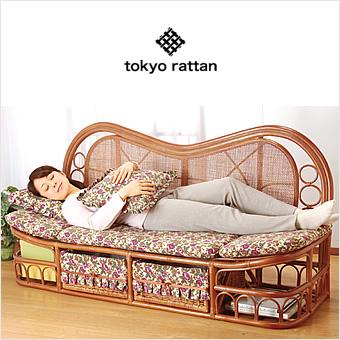 【YHC】tokyo rattan ラタン 籐 ソファ ハイバック カウチソファ 幅160cm クッション付き 収納付き