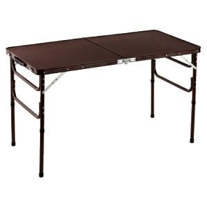 1台2役 ハイテーブル ローテーブル 折りたたみテーブル 脚折りたたみ 天板折りたたみ 長方形 軽量 アルミ製 木目調 幅120cm