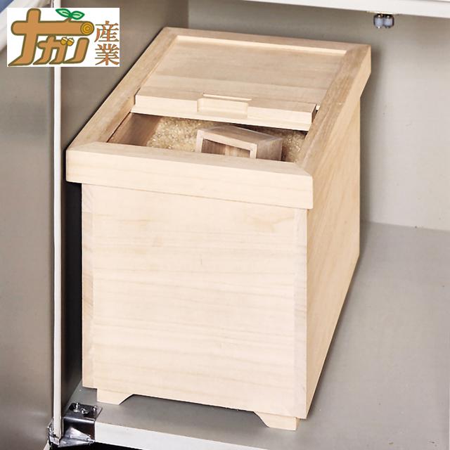 ナガノ産業 桐製米びつ 10kg用 米櫃 桐 軽量 吸湿 防虫 1合マス付き