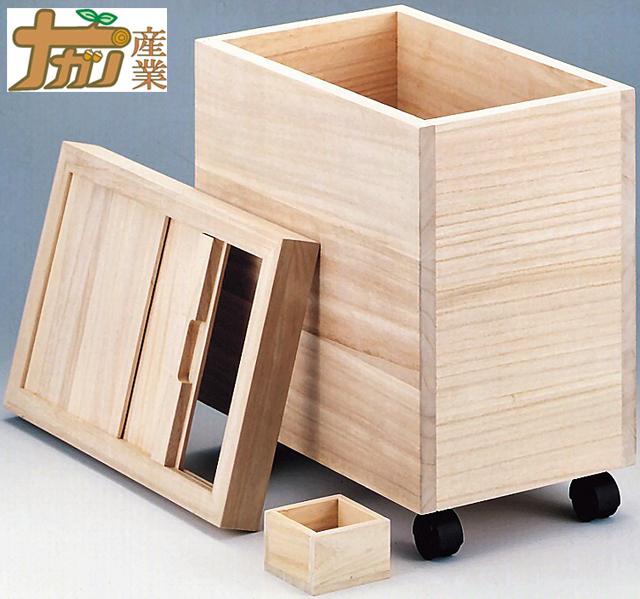 ナガノ産業 桐製米びつ 20kg用 米櫃 桐 軽量 吸湿 防虫 1合マス付き