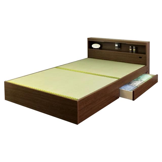 【代金引換不可】棚・照明・引き出し付き畳ベッド セミダブル