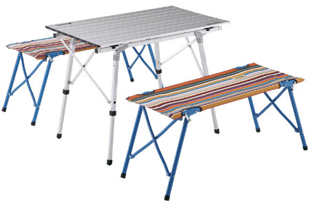 《送料無料》LOGOS(ロゴス) オートレッグベンチテーブルセット4(ストライプ) 73188001 1602 アウトドア キャンプ 用品 アクセサリー