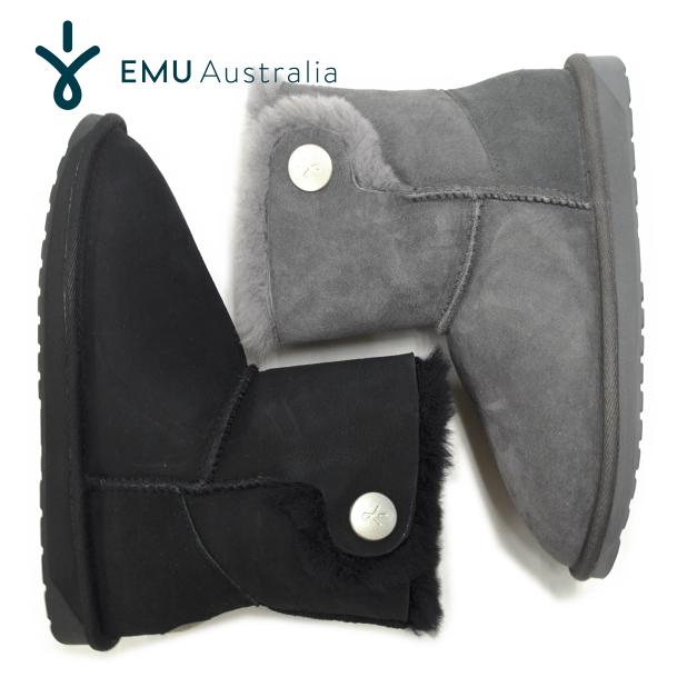 【日本正規品】EMU エミュ エミュー ムートンブーツ ORE W11788 オレ シープスキン 2WAY ショートブーツ 撥水 ファー レザー ブラック レディース 靴【あす楽対応】【送料無料】【大きいサイズ】