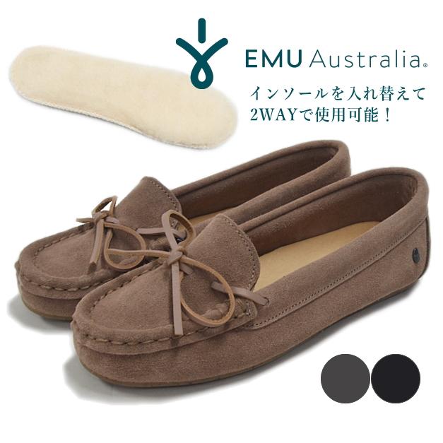 EMU エミュー モカシン Odessa Mini CC W12542 オデッサ ミニ モカシンシューズ ムートン ファー ボア ブラック レディース 靴 エミュ 日本正規品 EMU Australia 【あす楽対応】【送料無料】【大きいサイズ】