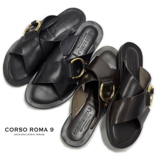 CORSO ROMA コルソローマ サンダル 131 イタリア製 ミュール レディース フラットサンダル レザー ブラック ブラウン 【あす楽対応】
