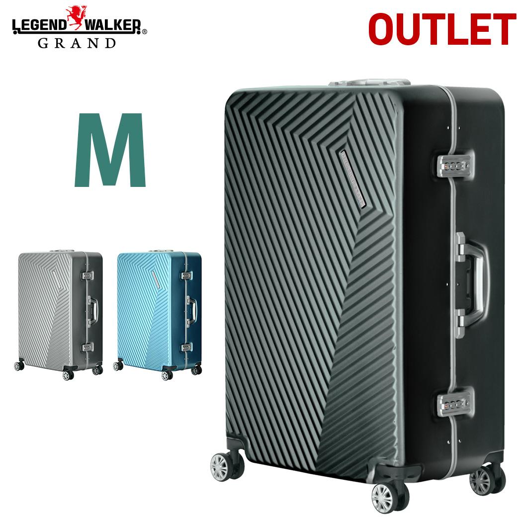 【アウトレット】 スーツケース ダブルキャスター キャリーバッグ スーツケース 5日 6日 7日 Mサイズ 超軽量 中型 TSAロック アルミ調デザイン 8輪 細フレーム B-5602-60