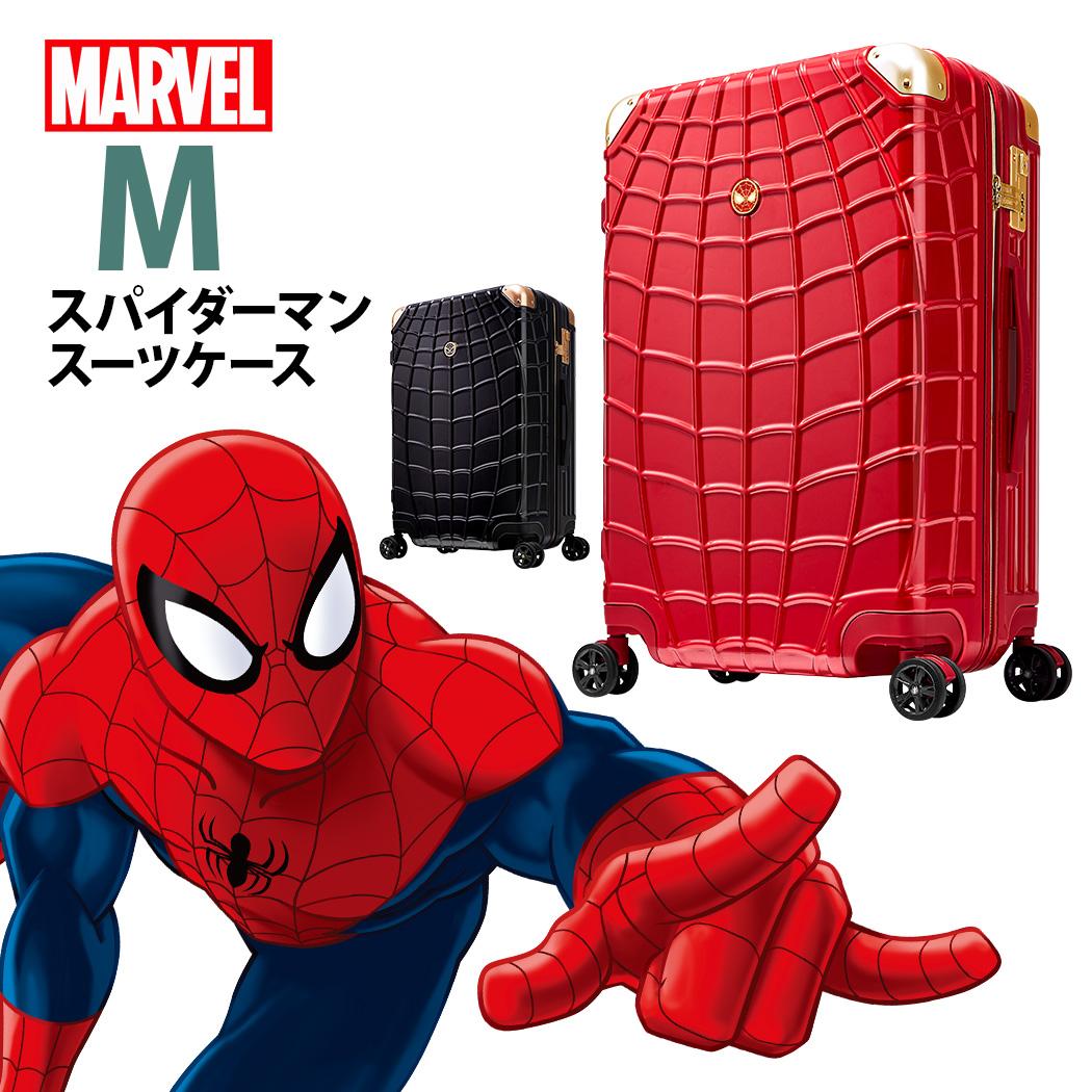 スパイダーマン スーツケース マーベル コラボ 中型 4泊 5泊 6泊 7泊 DISNEY MARVEL SPIDERMAN RED レッド 赤 BLACK ブラック 黒 軽量 キャリーバッグ キャリーケース B1103-CL2427-25