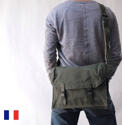 8c0da01430 OUTLET for GREEN  France army USED 50 s canvas  amp  leather shoulder bag  bag Army military army