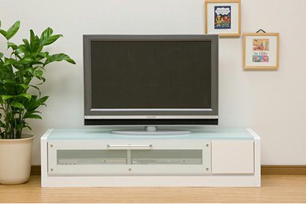 マイル-130 幅126cm ~46型大型テレビ対応♪モダンなテレビボードAVローボードテレビ台TV台TV台ボード 引き出し付き 天板ガラス張り ホワイト白