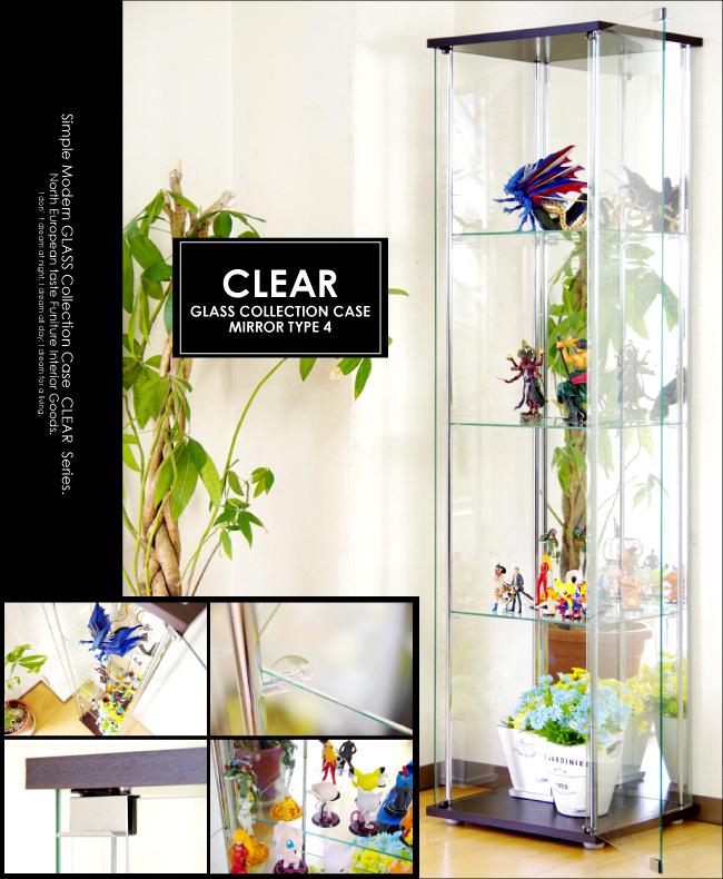 【背面ミラー仕様】コレクションボード 幅42.5cm×高160cm スリムハイタイプ ガラスコレクションボード 4段 棚板強化ガラス 吸盤式棚ダボ付き コレクションラック ディスプレイラック キュリオケース ショーケース コレクションケース 飾り棚 ガラスケース