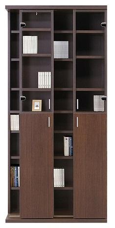 スライド 書棚 幅85 大容量 収納 2列収納 ハイタイプ スライド 木製 本棚 棚板高さ調整可能 可動棚 ブックシェルフ CDラック DVDラック コミックラック 壁面収納 ダークブラウン