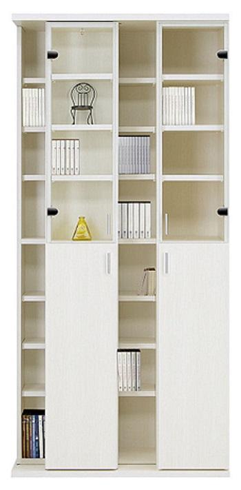 スライド 書棚 幅85 大容量 収納 2列収納 ハイタイプ スライド 木製 本棚 棚板高さ調整可能 可動棚 ブックシェルフ CDラック DVDラック コミックラック ホワイト