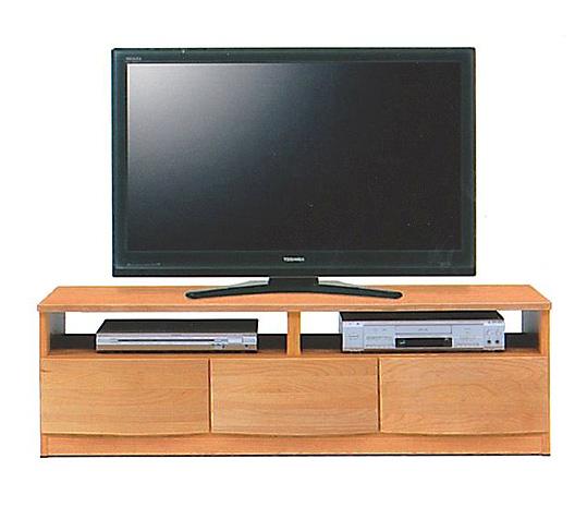 国産品 ~46型対応 幅135cmテレビ台 前板天然木高級アルダー材 AV収納部分オープンタイプ テレビボードAVローボードTV台TVボードリビングボード フルオープンスライドレール付き引き出し3杯 ナチュラル