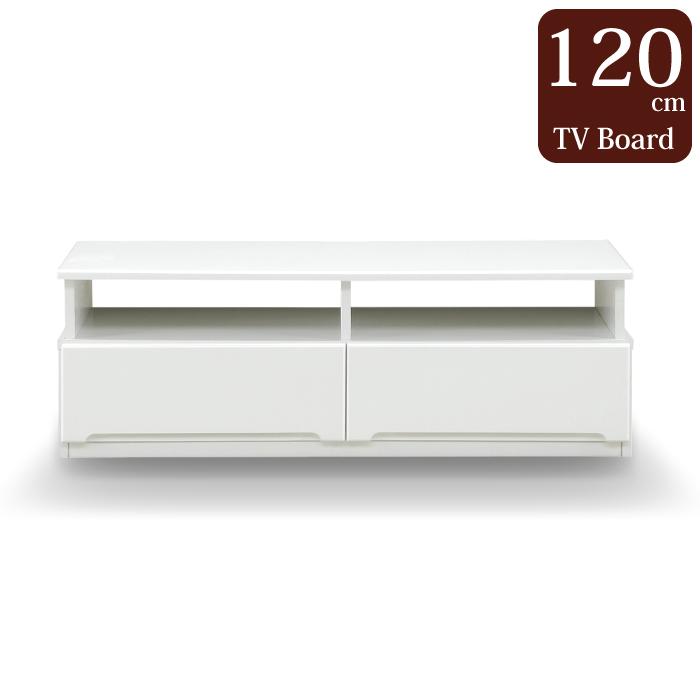 完成品 幅120cm テレビボード 約50型サイズテレビ対応 テレビ台 TVボード TV台 AVボード AVチェスト リビングボード ローボード AV収納 引き出し収納 リビング収納 オープンタイプ ホワイト 白