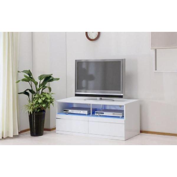TV台 ブルーLED間接照明搭載 ~42型対応 幅115cm 高級 AV収納 ローボード テレビ台 TVボード テレビボード 艶々 エナメル塗装鏡面仕上げ ホワイト 白