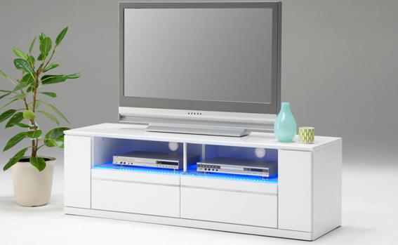 TV台 ブルーLED間接照明搭載 ~52型対応 幅150cm 高級 AV収納 ローボード テレビ台 TVボード テレビボード 艶々 エナメル塗装 鏡面仕上げ ホワイト 白