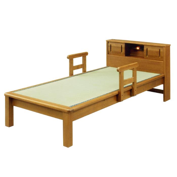 国産畳使用 畳ベッド 高級 タモ材フレーム 手すり付き 宮付き ライト付き 畳ベット たたみベッド タタミベッド 和風モダン シングルベッド 天然木タモ突板 照明付き 手摺り移動式