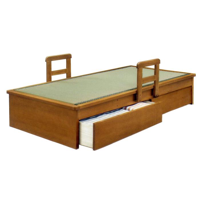 畳ベッド シングルサイズ 国産畳使用 引き出し2杯付き ヘッドレスベッド 手すり付き 畳みベッド 畳ベット たたみベッド タタミベッド 和風モダン シングルベッド 天然木タモ突板 引き出し収納付き 手摺り移動式