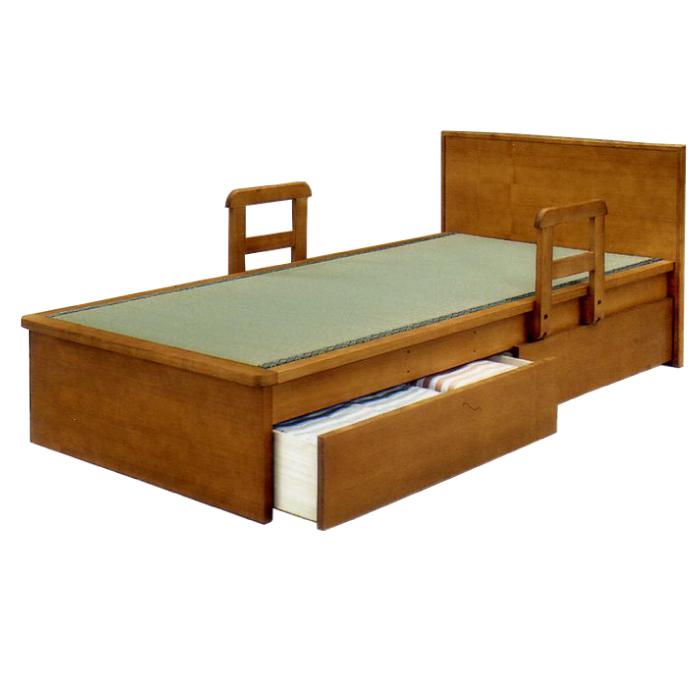 畳ベッド シングルサイズ 国産畳使用 引き出し2杯付き フラットヘッドベッド 手すり付き 畳みベッド 畳ベット たたみベッド タタミベッド 和風モダン シングルベッド 天然木タモ突板 引き出し収納付き 手摺り移動式
