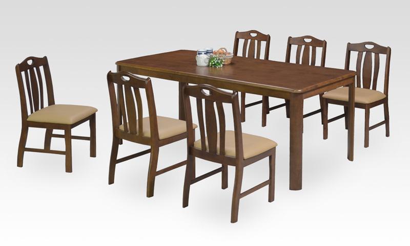 ダイニング7点セット 6人用ダイニングセット テーブル幅170cm×80cm 北欧風モダンデザイン 天然木ラバーウッド材 食卓セット 食卓7点セット ダイニングテーブル+椅子6脚セット 汚れに強い座面合皮PVCレザー張り ミドルブラウン