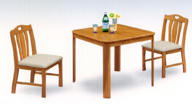 ダイニング3点セット テーブル幅80cm 2人用ダイニングセット 北欧風モダンデザイン天然木ラバーウッド材食卓セット食卓3点セットダイニングテーブル+椅子2脚セット 汚れに強い座面合皮PVCレザー張り ライトブラウン