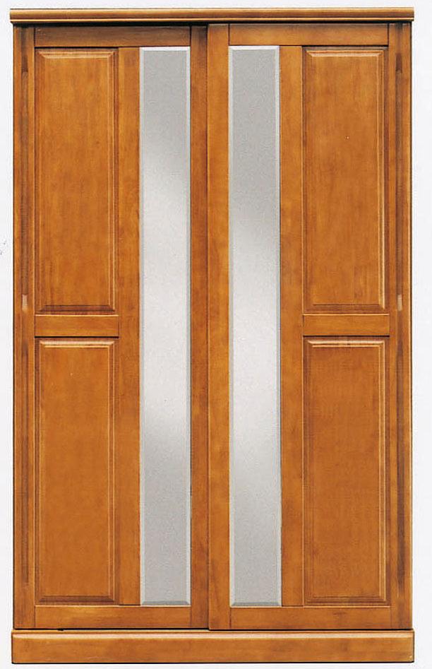 【53%OFF】 [国産]幅120cmワードローブ ミラー付きスライド扉タイプ 天然木ラバーウッド使用 洋服だんす箪笥タンス洋たんす服吊り衣類収納木製ワードローブクローゼット引き戸 ブラウン