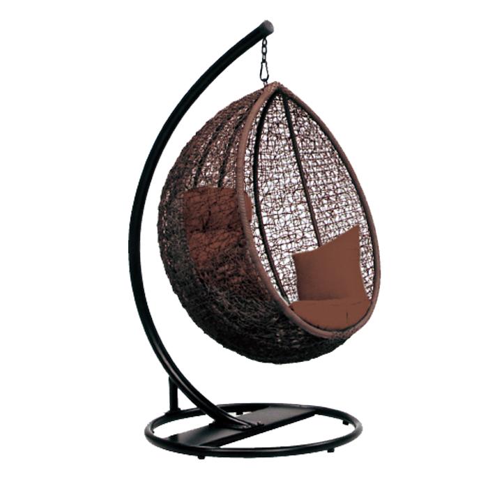 ハンギングチェアー 大人用ゆったりサイズ クッション付き 頑丈 高さ調節可能 吊り下げ式 揺りかごチェアー アジアン 南国リゾート風 バブルチェア風 エッグ型チェアー パーソナルチェアー 繭型 ハンモックチェアー 1人掛けチェアー スタンド式 ブラウン