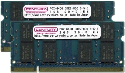【新品/取寄品/代引不可】ノート用 PC6400/DDR2-800 4GBキット(2GB 2枚組) SODIMM RoHS指令準拠 CK2GX2-SOD2U800