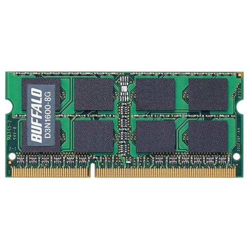 【新品/取寄品/代引不可】PC3-12800(DDR3-1600)対応 204Pin用 DDR3 SDRAM S.O.DIMM 8GB D3N1600-8G